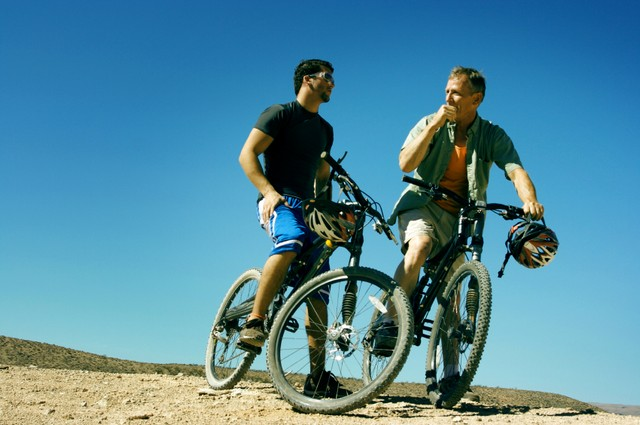 Father and Son mountain biking