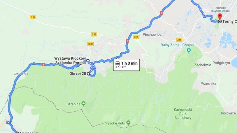 Mapa trasy 1 z Harrachova